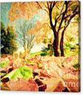 Painting Of Autumn Fall Landscape In Park Canvas Print
