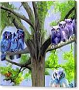 Painting Of Owls And Birds Nest In Tree Canvas Print