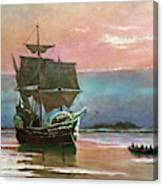 Painting Of The Ship The Mayflower 1620 Canvas Print