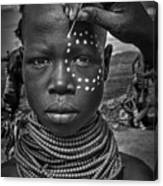 Painting The Face Of A Karo Tribe Girl (omo Valley-ethiopia) Canvas Print
