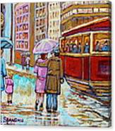Paintings Of Fifties Montreal-downtown Streetcar-vintage Montreal Scene Canvas Print