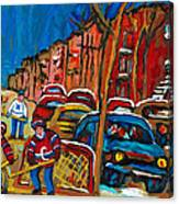 Paintings Of Montreal Hockey City Scenes Canvas Print
