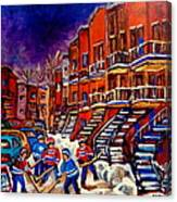 Paintings Of Montreal Hockey On Du Bullion Street Canvas Print