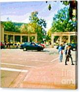Paintings Of Roddick Gates Entrance Mcgill Campus  From Sherbrooke Towards The Mountain Cspandau Art Canvas Print