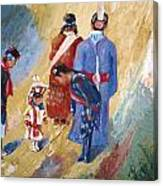 Paiute Children Dressed For The Powwow Canvas Print