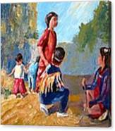 Paiute Indian Children Playing At The Powwow Canvas Print