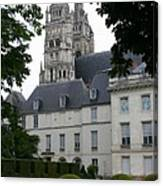 Palais In Tours With Cathedral Steeple Canvas Print
