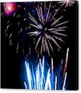 Pale Blue And Red Fireworks Canvas Print