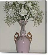 Pale Vase White Flowers Canvas Print