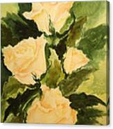 Pale Yellow Roses Canvas Print