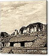 Palenque Panorama Sepia Canvas Print