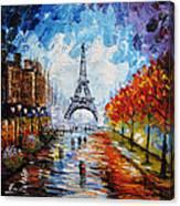 palette knife painting Paris Eiffel tower Canvas Print