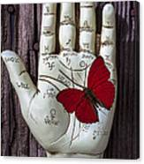 Palm Reading Hand And Butterfly Canvas Print