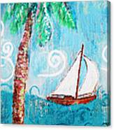 Palm Tree And Sailboat By Jan Marvin Canvas Print
