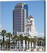 Palm Trees In Downtown Long Beach Canvas Print