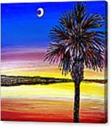 Palmetto Sunset Moon And Stars Canvas Print