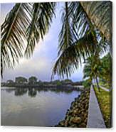 Palms Over The Waterway Canvas Print