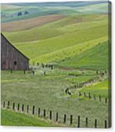 Palouse Barn And Fence Canvas Print