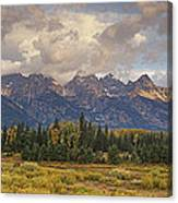 Panaroma Clearing Storm On A Fall Morning In Grand Tetons National Park Canvas Print