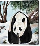 Panda On Ice Canvas Print