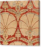 Panel Of Red Cut Velvet With Carnation Canvas Print