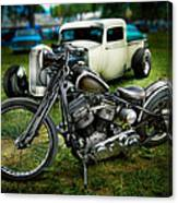 Panhead Harley And Ford Pickup Canvas Print