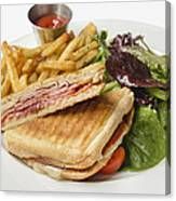 Panini With Ham Melted Cheese French Fries And Salad Canvas Print