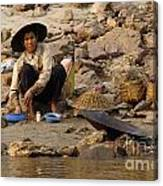 Panning For Gold Mekong River 1 Canvas Print