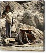 Panning For Gold Mekong River 2 Canvas Print
