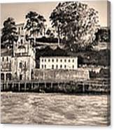 Panorama Alcatraz Shaky Sepia Canvas Print