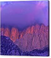 Panorama Alpenglow On Mount Whitney Eastern Sierras California Canvas Print