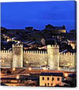 Panorama Avila Spain Wall At Night Canvas Print