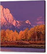 Panorama Dawn Lights Up Mount Moran In Grand Tetons National Park Canvas Print