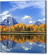 Panorama Fall Morning At Oxbow Bend Grand Tetons National Park Canvas Print