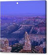 Panorama Moonrise Over Point Imperial Grand Canyon National Park Canvas Print