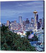 Panorama Of Downtown Seattle And Space Needle From Kerry Park At Dusk - Seattle Washington State Canvas Print
