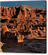 Panorama Of Hoodoos At Sunset Goblin Valley State Park Utah Canvas Print