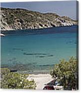 Panorama Of Mandrakia Fishing Village Milos Greece Canvas Print