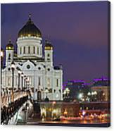 Panorama Of Moscow Cathedral Of The Christ The Savior - Featured 3 Canvas Print