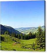 Panorama Of The Appenzeller Hills Near Mount Saentis Switzerland Canvas Print