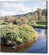 Panorama Of The Little River At Stowe Vermont Canvas Print
