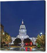 Panorama Of The Texas State Capitol At Christmas Canvas Print