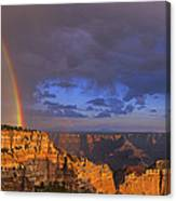 Panorama Rainbow Over Cape Royal North Rim Grand Canyon National Park Canvas Print