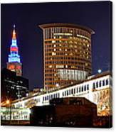 Panoramic Cleveland Night Canvas Print