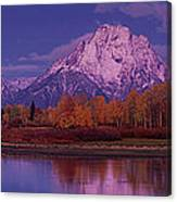 Panoramic Fall Morning Oxbow Bend Grand Tetons National Park Wyoming Canvas Print