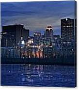Panoramic Of Skyline At Dusk, Montreal Canvas Print