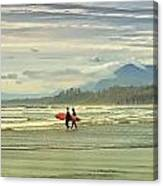 Panoramic Of Surfers On Long Beach, Bc Canvas Print