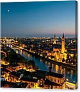 Panoramic Of Verona At Dusk Canvas Print