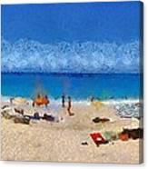 Panoramic Painting Of Porto Katsiki Beach Canvas Print