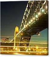 Panoramic Photo Of Sydney Harbour Bridge Night Scenery Canvas Print